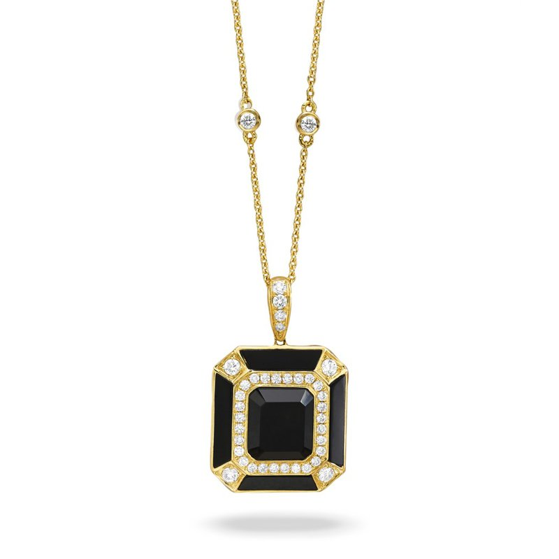 Corinth Collections  18 Karat Yellow Gold Square Cut Black Onyx and Diamond Vintage Style Necklace