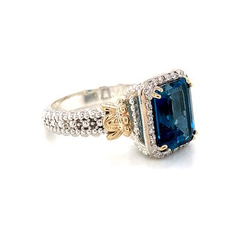 14 Karat Yellow Gold and Sterling Silver London Blue Topaz Diamond Ring