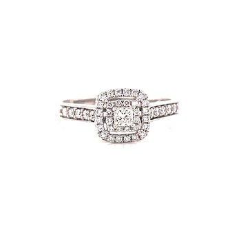 14 Karat White Gold Princess Cut Center with Double Diamond Halo Engagement Ring