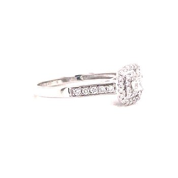 14 Karat White Gold Princess Cut Center with Double Diamond Halo Engagement Ring