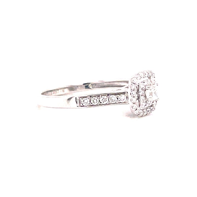 Corinth Collections  14 Karat White Gold Princess Cut Center with Double Diamond Halo Engagement Ring