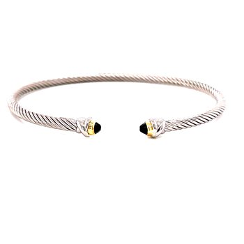 Sterling Silver and 18 Karat Yellow Gold Cuff Bracelet with Black Spinel Tips with Gold Accent