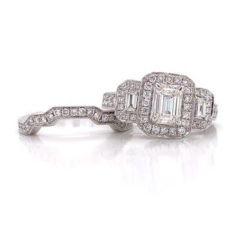 14K White 3 Stone Wedding Set