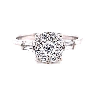 14 Karat White Gold Round Illusion Center with Two Baguette Side Stones and Polished Shank Solitaire Engagement Ring