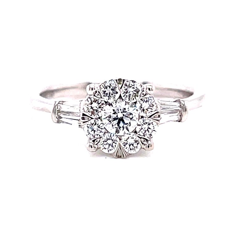 Ashi Diamonds 14 Karat White Gold Round Illusion Center with Two Baguette Side Stones and Polished Shank Solitaire Engagement Ring