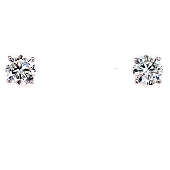 14 Karat White Gold 1.50 cttw Round Diamond Solitaire Stud Earrings