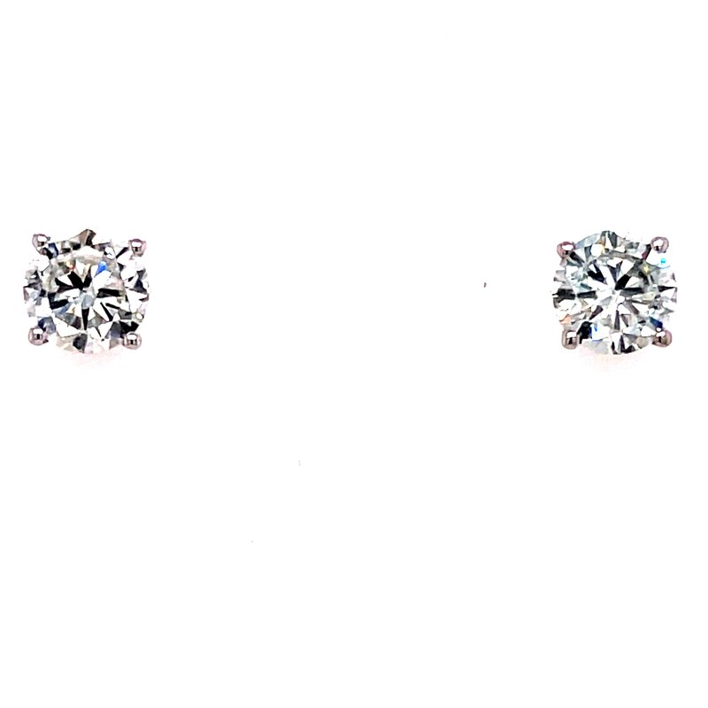 Corinth Collections  14 Karat White Gold 1.50 cttw Round Diamond Solitaire Stud Earrings
