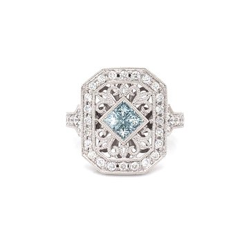 14K White Gold Blue and White Diamond Vintage Fashion Ring