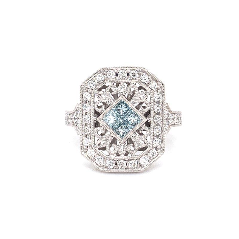 Rego Designs 14K White Gold Blue and White Diamond Vintage Fashion Ring