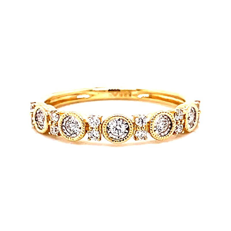 Corinth Collections  14 Karat Yellow Gold Round Diamond Band with Milgrain Accent Stacker Band