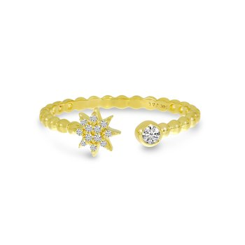 14 Karat Yellow Gold Open Diamond Starburst Beaded Fashion Ring