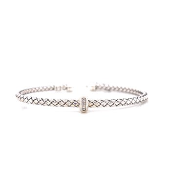 Sterling Silver Cuff with Single Diamond Accent