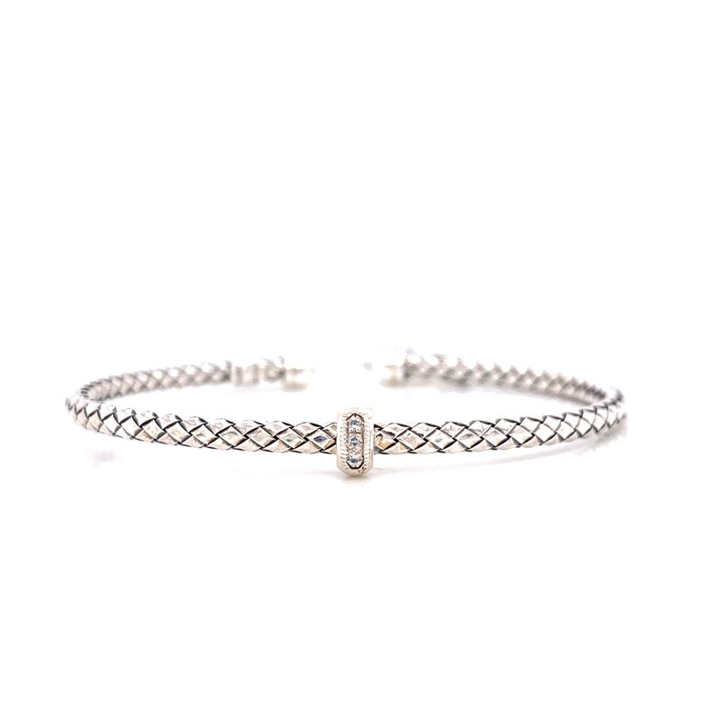 Corinth Collections  Sterling Silver Cuff with Single Diamond Accent