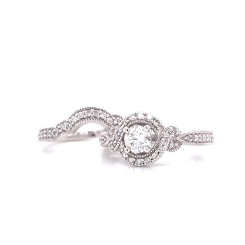 14K White Gold Round with Twisted Halo