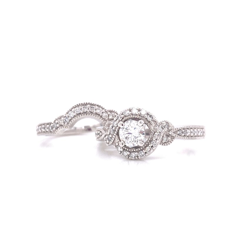 Corinth Collections  14K White Gold Round with Twisted Halo
