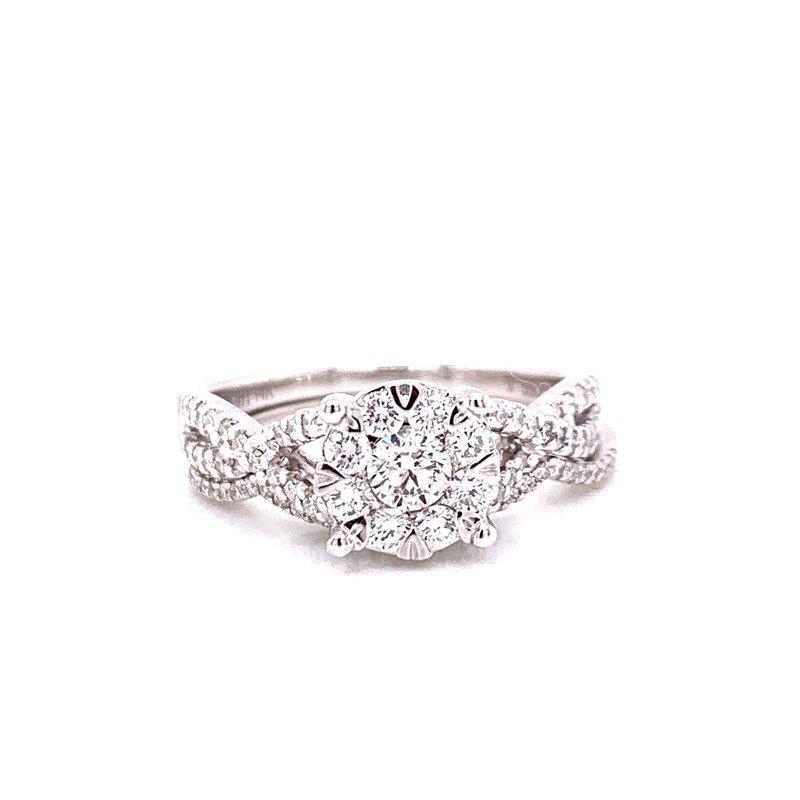 Ashi Diamonds 14 Karat White Gold Round Diamond Lovebright Solitaire with Infinity Shank
