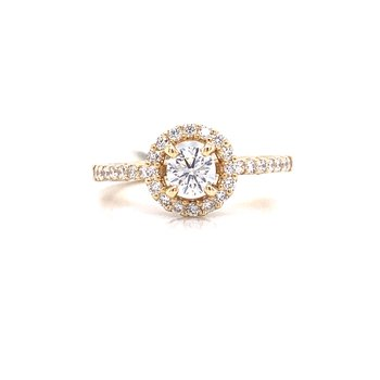 14K Yellow Gold Round Center with Diamond Halo