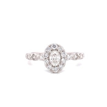 14 Karat White Gold Oval with Diamond Halo Engagement Ring