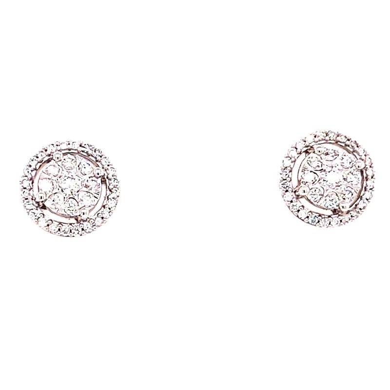 Corinth Collections  10 Karat White Gold Round Diamond Cluster Stud Earring