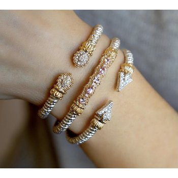 14 Karat Yellow Gold and Sterling Silver Pointed Diamond Vahan Cuff Bracelet with Yellow Gold Beaded Accent