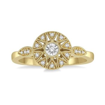 10 Karat Yellow Gold Vintage Diamond Fashion Ring