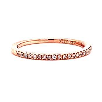 10 Karat Rose Gold Round Diamond Stacker Band