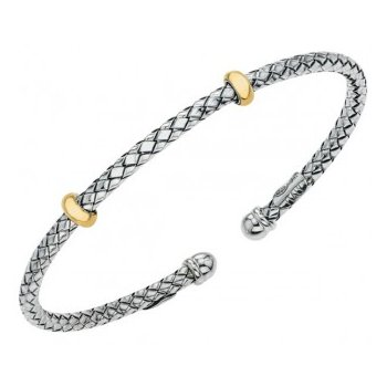 18 Karat Yellow Gold and Sterling Silver Traversa Thin Bracelet Cuff with Double Gold Rondells