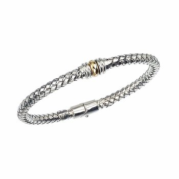 18 Karat Yellow Gold and Sterling Silver Woven Bangle with Gold Rondell Accent
