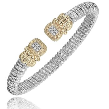 14 Karat Yellow Gold and Sterling Silver Cushion Diamond Cuff with Yellow Gold Beaded Accent Vahan Bracelet