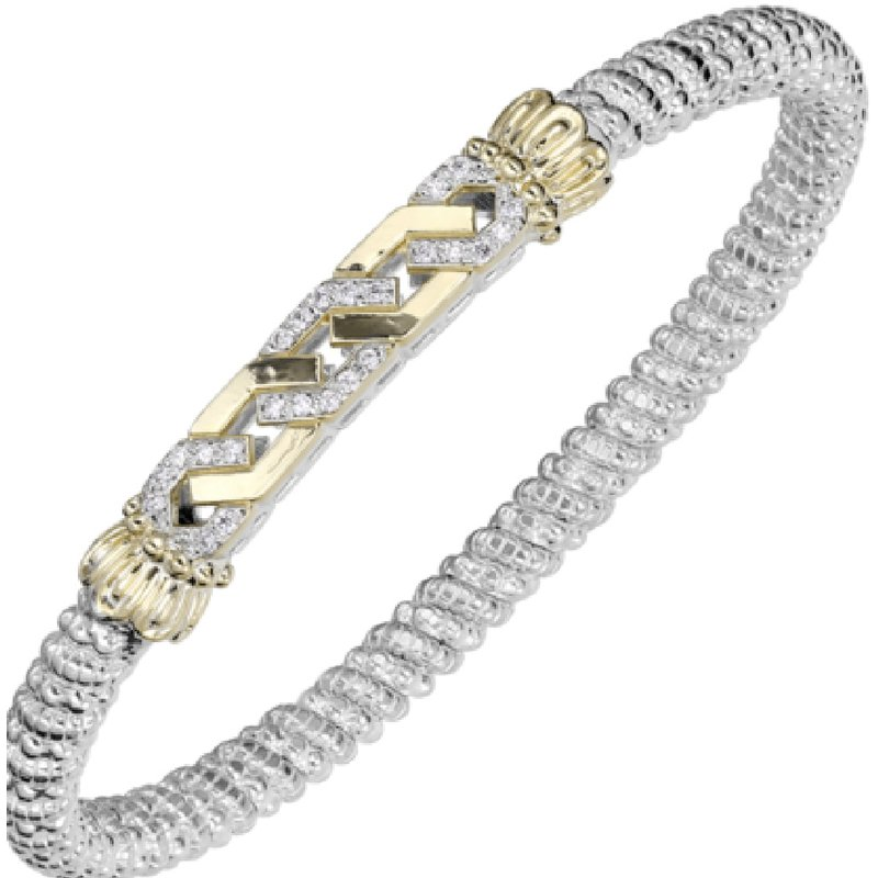 Alwand Vahan 14 Karat Yellow Gold and Sterling Silver Intertwined Two-Tone Bar with Diamond Accents Vahan Bracelet