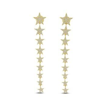 14 Karat Yellow Gold Diamond Star Dangle Earrings