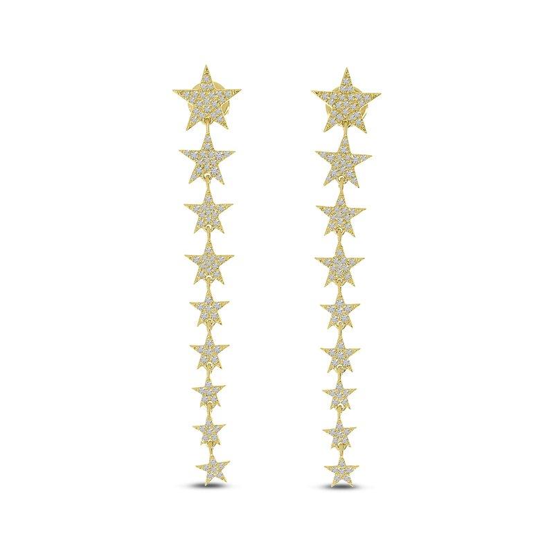 Corinth Collections  14 Karat Yellow Gold Diamond Star Dangle Earrings
