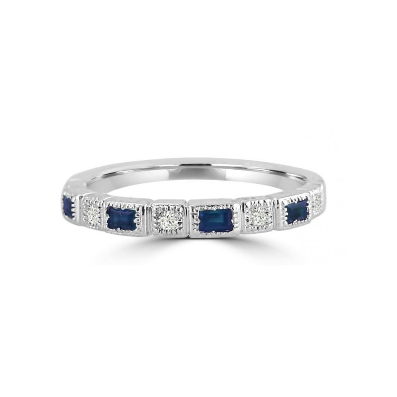 Corinth Collections  10 Karat White Gold Round Diamond and Sapphire Baguette Cut Stacker Band