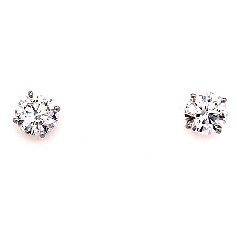 Corinth Collections  14 Karat White Gold 2.0 cttw Round Lab Grown Diamond Stud Solitaire Earrings