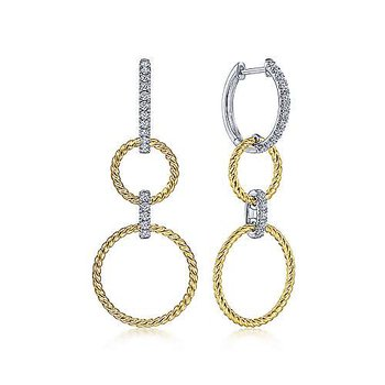 14 Karat Yellow and White Gold Twisted Rope and Diamond Open Circle Drop Earrings