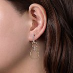 Gabriel 14 Karat Yellow and White Gold Twisted Rope and Diamond Open Circle Drop Earrings
