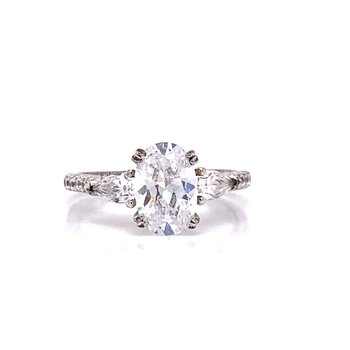 14K White Gold Oval with Pear Side Stones Semi Mount