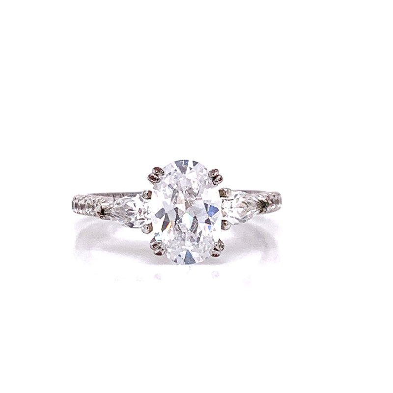 Corinth Collections  14K White Gold Oval with Pear Side Stones Semi Mount