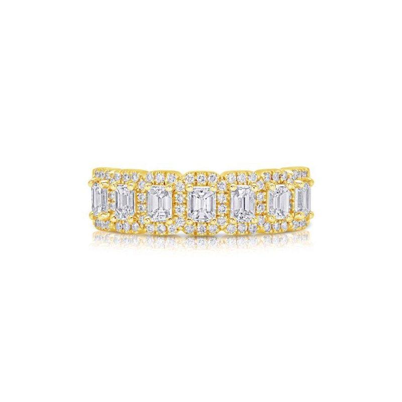 Corinth Collections  14 Karat Yellow Gold Emerald Cut Halo Diamond Band