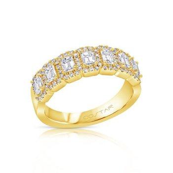 14 Karat Yellow Gold Emerald Cut Halo Diamond Band