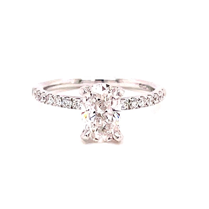 Corinth Collections  14 Karat White Gold Oval Cut Center Solitaire Engagement Ring with Diamond Shank Mounting