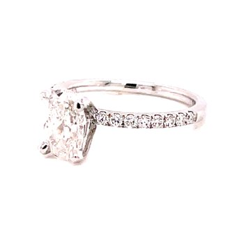 14 Karat White Gold Oval Cut Center Solitaire Engagement Ring with Diamond Shank Mounting