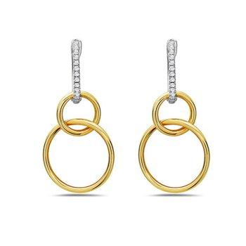 14 Karat White and Yellow Gold Double Circle Diamond Dangle Earrings