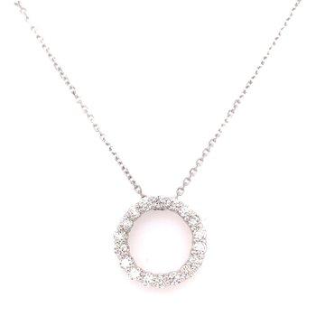 14K White Gold Round Diamond Circle Pendant