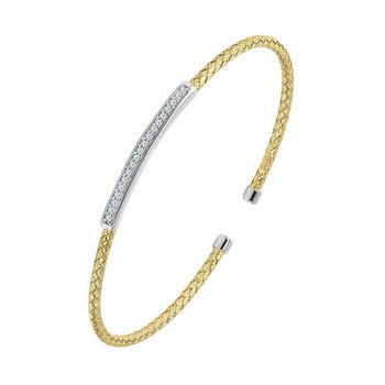 Sterling Silver and Gold Plating Cuff with Bar CZ Accent