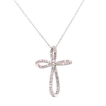 14 Karat White Gold Twisted Diamond Cross Necklace