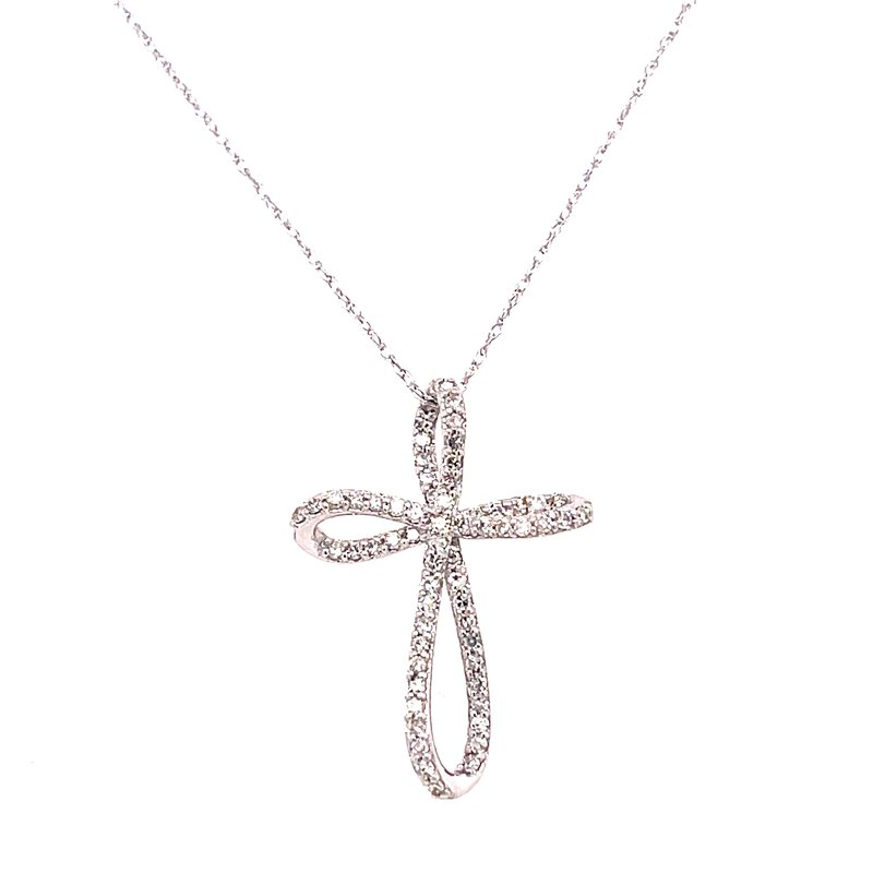 Corinth Collections  14 Karat White Gold Twisted Diamond Cross Necklace