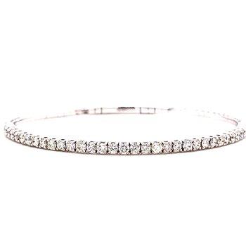 14 Karat White Gold Round Diamond Flex Bangle Bracelet