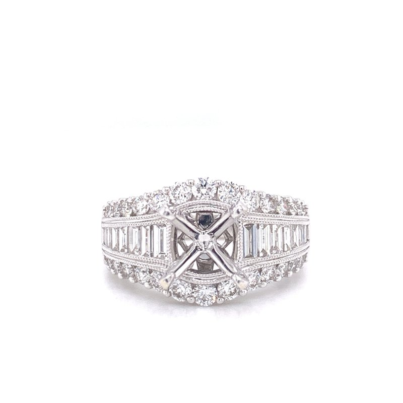 Corinth Collections  14K White Gold Baguette and Round Semi Mount