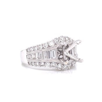 14K White Gold Baguette and Round Semi Mount
